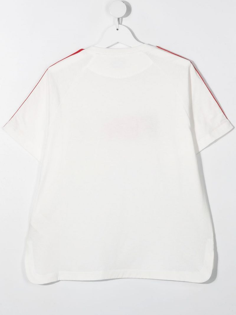 FENDI KIDS: Fendi embroidered cotton t-shirt Color White_2