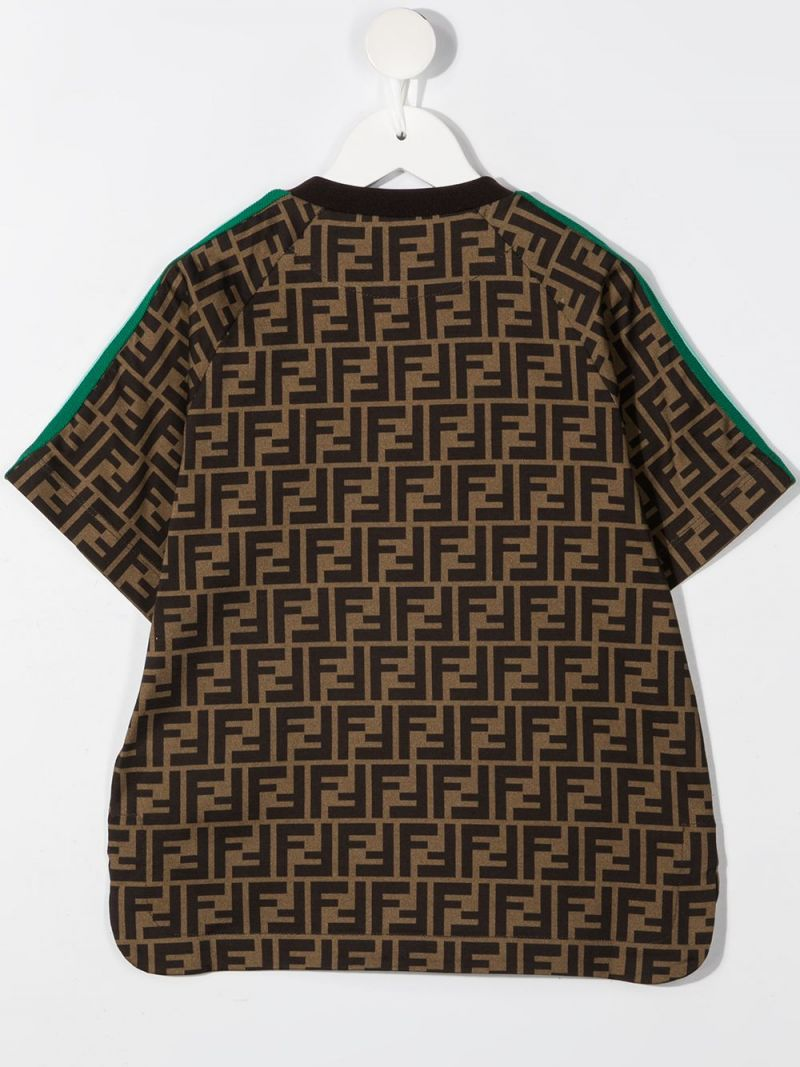 FENDI KIDS: FF print cotton t-shirt Color Orange_2