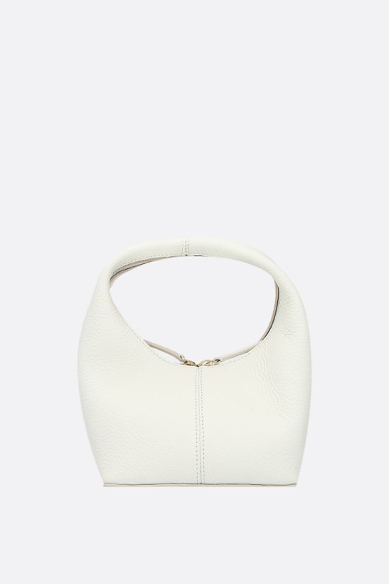 FRENZLAUER: Panier mini grainy leather handbag Color White_1