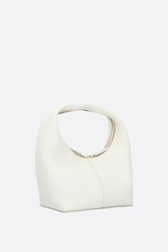 FRENZLAUER: Panier mini grainy leather handbag Color White_2