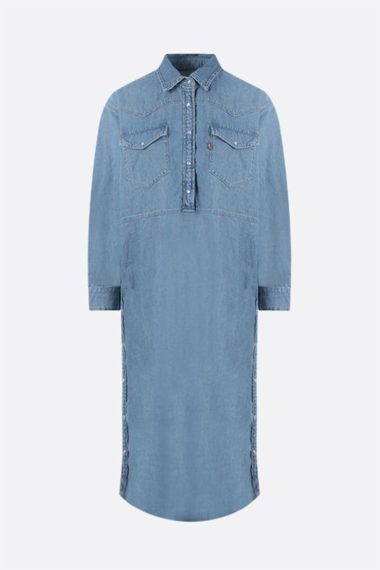 GANNI: oversize denim shirt dress Color Blue_1