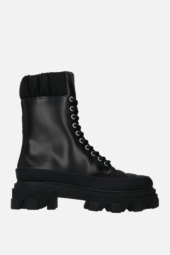 GANNI: quilted nylon and smooth leather combat boots Color Black_1