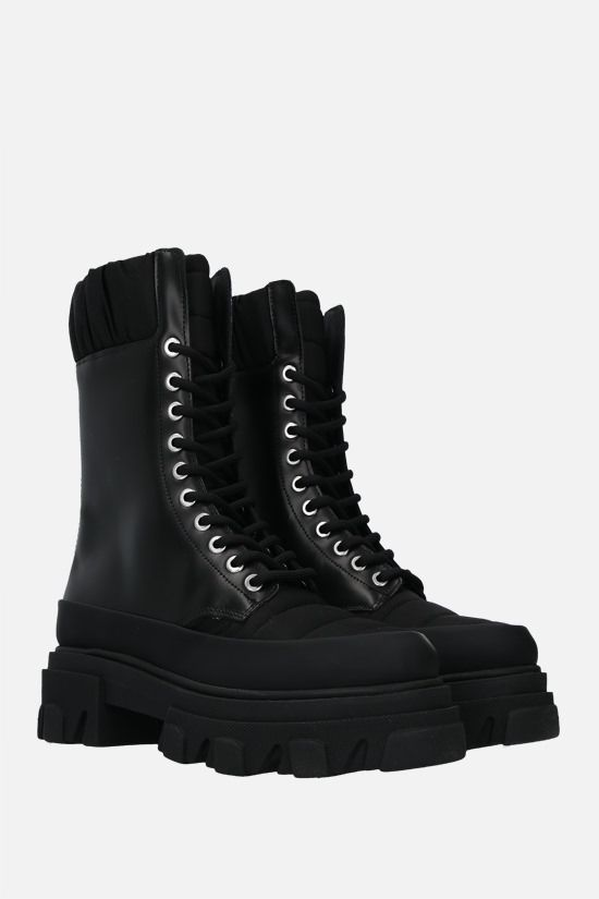 GANNI: quilted nylon and smooth leather combat boots Color Black_2