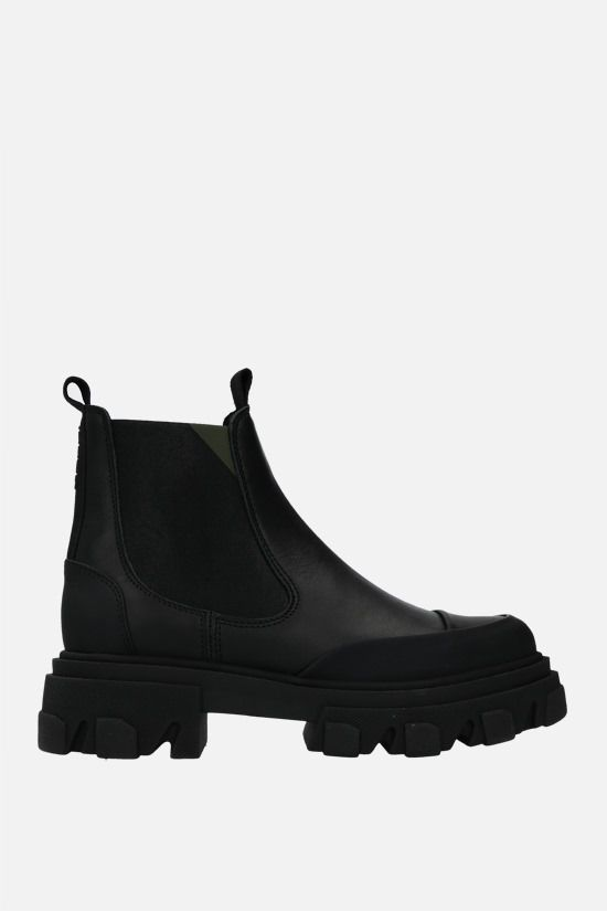 GANNI: smooth leather chelsea boots Color Black_1