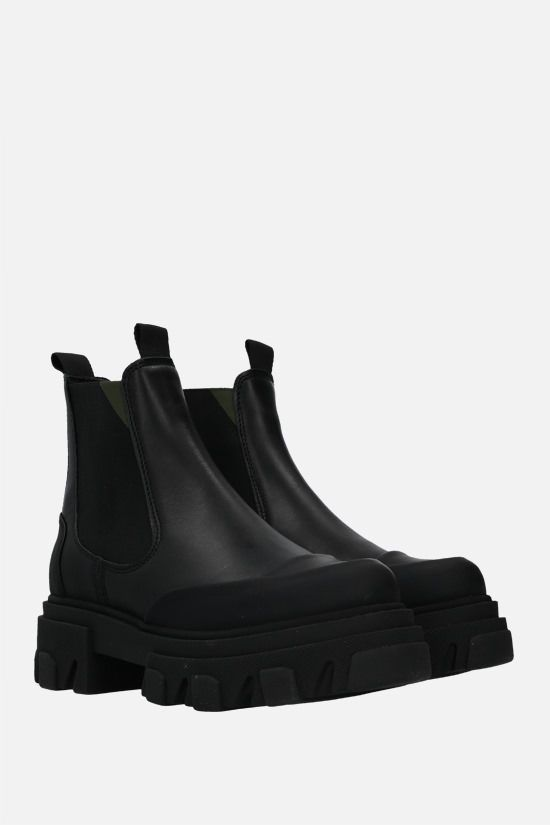 GANNI: smooth leather chelsea boots Color Black_2