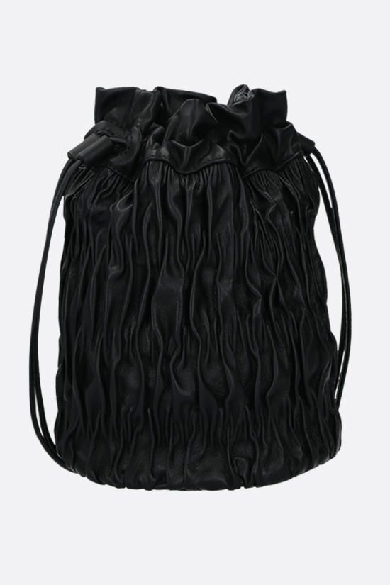 GANNI: quilted nappa bucket bag Color Black_2