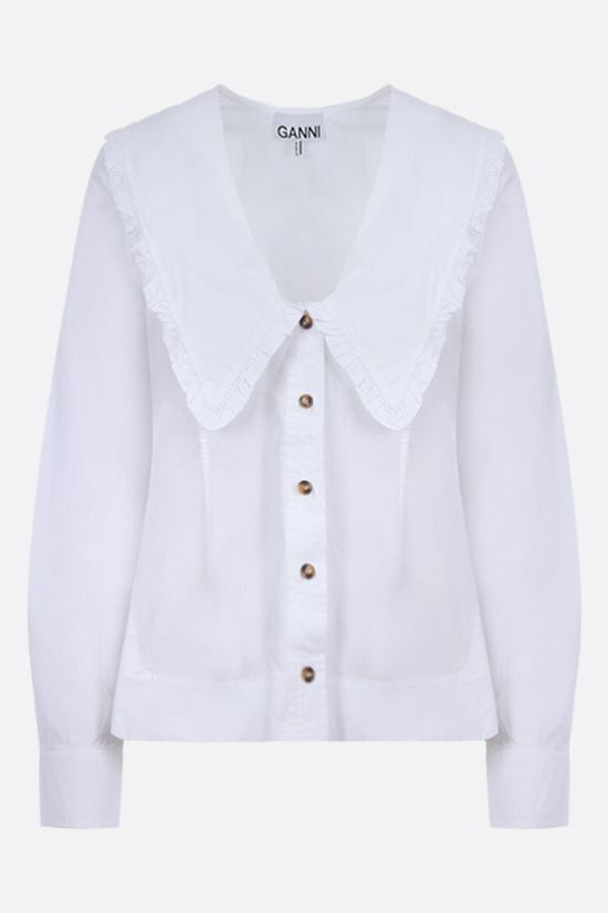 GANNI: bib-detailed cotton shirt Color White_1