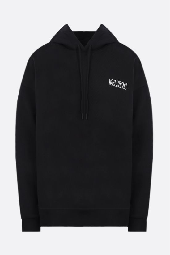GANNI: Software Isoli oversize cotton blend hoodie Color Black_1