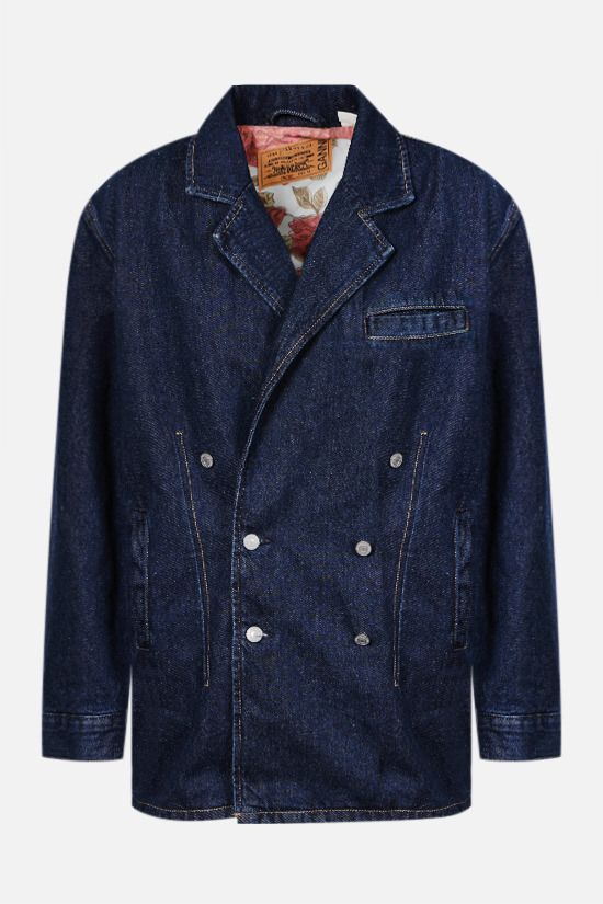 GANNI: double-breasted denim jacket Color Blue_1