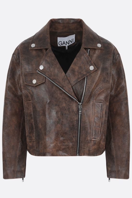 GANNI: giacca biker cropped in pelle effetto vintage Colore Marrone_1