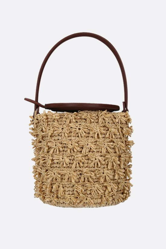 GATTI: Lily raffia and smooth leather bucket bag Color Neutral_1