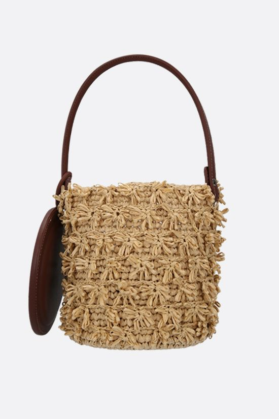 GATTI: Lily raffia and smooth leather bucket bag Color Neutral_2