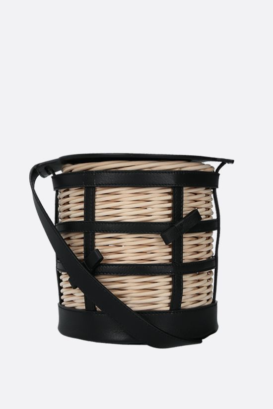 GATTI: Lily wicker and smooth leather bucket bag Color Multicolor_1