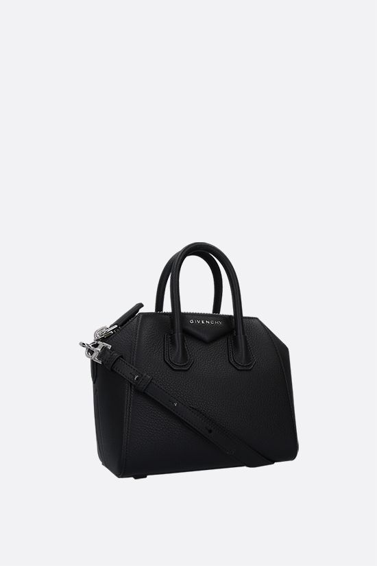 GIVENCHY: borsa a mano Antigona Mini in pelle martellata Colore Nero_2