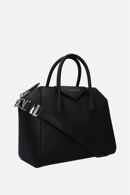 GIVENCHY: borsa a mano Antigona small in pelle martellata Colore Nero_2