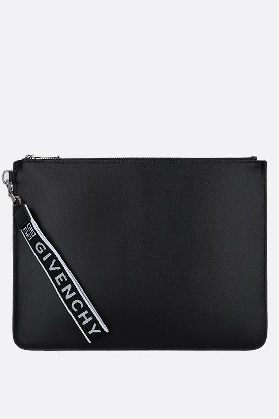 GIVENCHY: busta large in canvas resinato Colore Nero_1