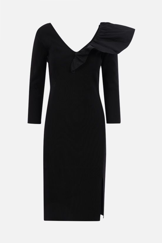 GIVENCHY: frill-detailed stretch knit midi dress Color Black_1