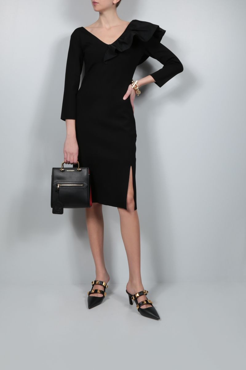 GIVENCHY: frill-detailed stretch knit midi dress Color Black_2