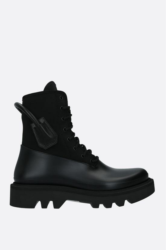 GIVENCHY: neoprene and smooth leather combat boots Color Black_1