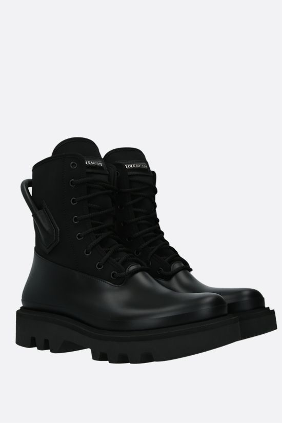 GIVENCHY: neoprene and smooth leather combat boots Color Black_2