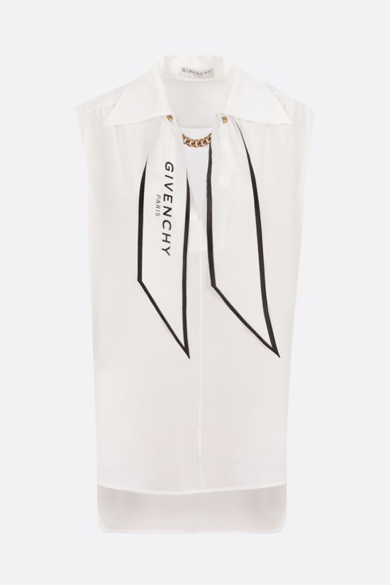 GIVENCHY: chain-detailed silk sleeveless blouse Color White_1