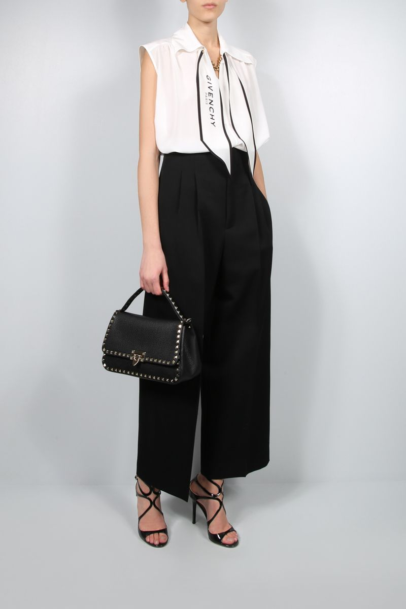 GIVENCHY: chain-detailed silk sleeveless blouse Color White_2
