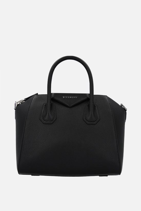 GIVENCHY: borsa a mano Antigona media in pelle martellata Colore Nero_1