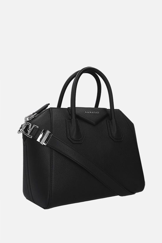 GIVENCHY: borsa a mano Antigona media in pelle martellata Colore Nero_2