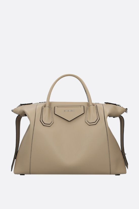 GIVENCHY: borsa a mano Antigona Soft media in pelle liscia Colore Neutro_1
