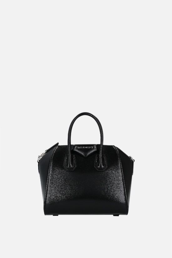 GIVENCHY: Antigona mini shiny leather handbag Color Black_1