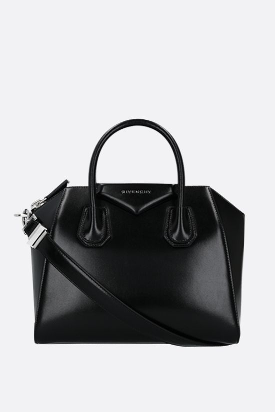 GIVENCHY: Antigona small shiny leather handbag Color Black_2