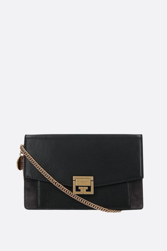 GIVENCHY: GV3 smooth leather and suede chain wallet Color Black_1