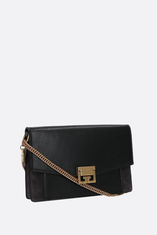 GIVENCHY: GV3 smooth leather and suede chain wallet Color Black_2
