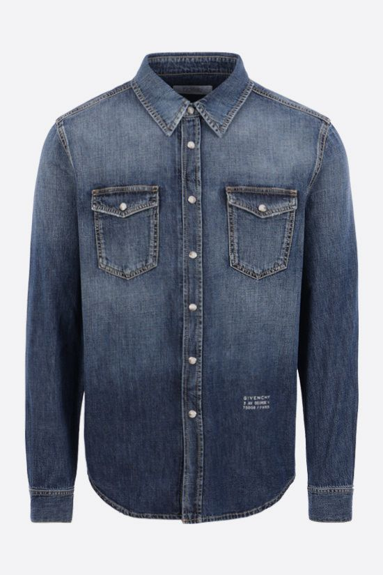 GIVENCHY: camicia in denim stampa Givenchy Adresse Colore Blu_1