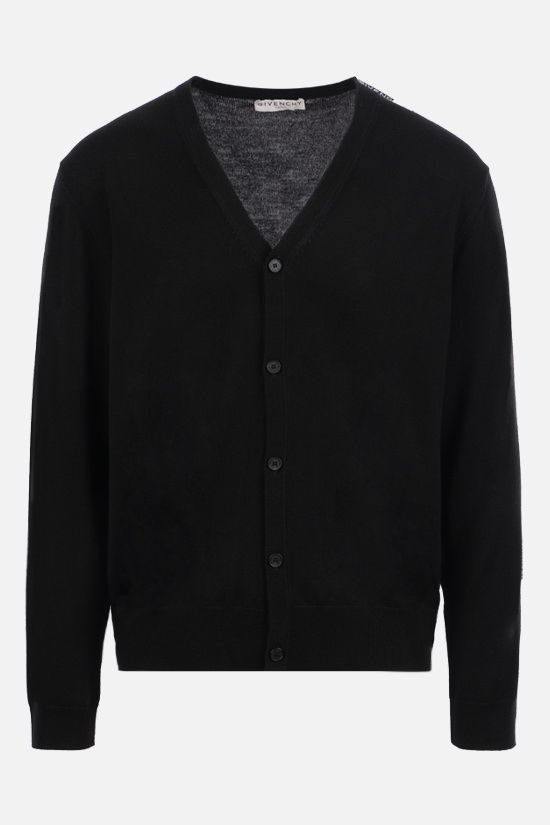 GIVENCHY: logo tape-detailed wool cardigan Color Black_1