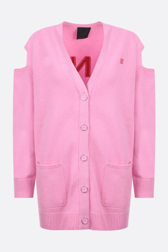 GIVENCHY: logo-detailed oversize cashmere wool blend cardigan Color Pink_1