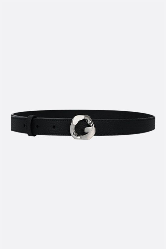 GIVENCHY: G Chain buckle-detailed grainy leather belt Color Black_1