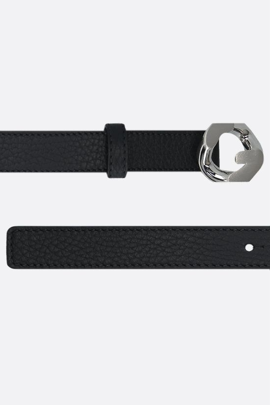 GIVENCHY: G Chain buckle-detailed grainy leather belt Color Black_2
