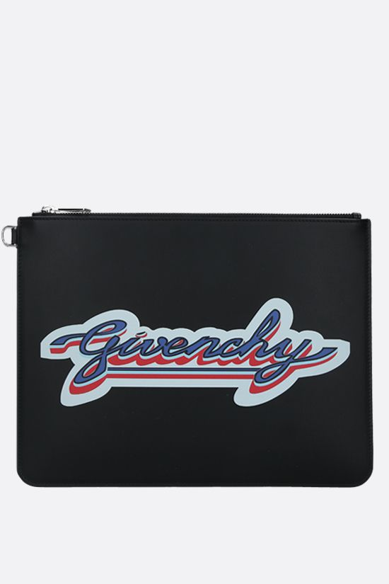 GIVENCHY: busta large in pelle liscia stampa Givenchy Colore Nero_1