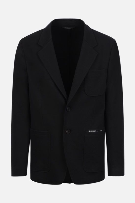 GIVENCHY: single-breasted technical jersey jacket Color Black_1