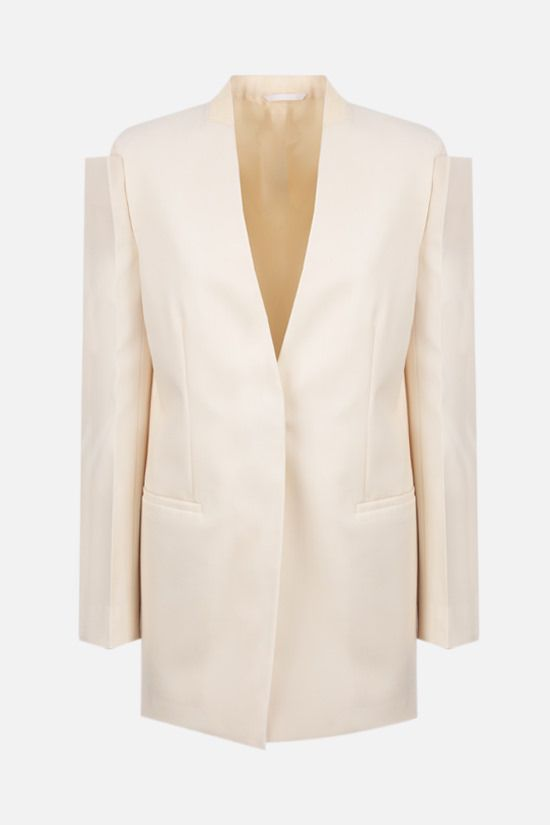 GIVENCHY: collarless single-breasted wool jacket Color Grey_1
