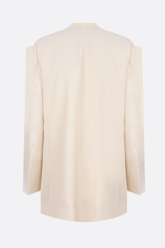 GIVENCHY: collarless single-breasted wool jacket Color Grey_2
