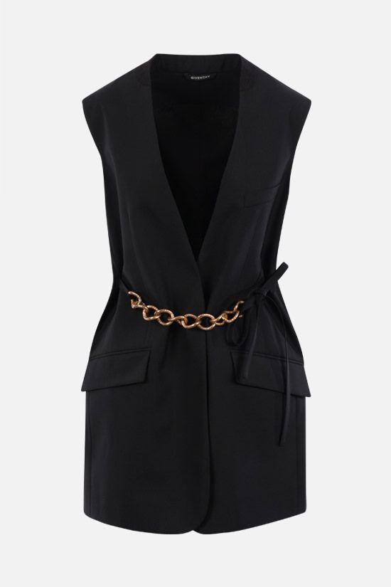 GIVENCHY: single-breasted chain-detailed wool vest Color Black_1