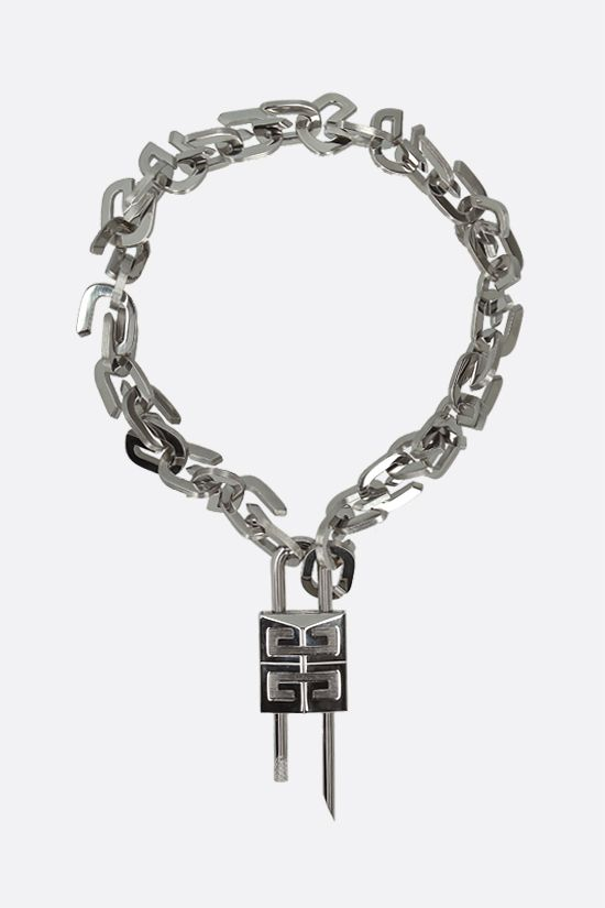 GIVENCHY: G Link brass necklace Color Silver_1