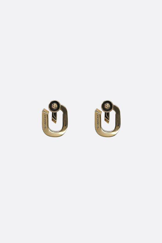 GIVENCHY: G Link brass earrings Color Gold_2