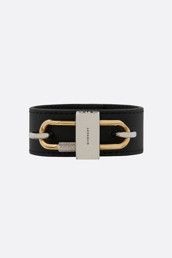 GIVENCHY: Lock soft nappa and metal bracelet Color Gold_1