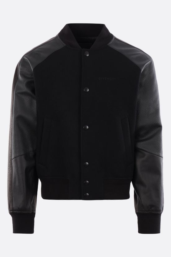 GIVENCHY: logo-detailed technical wool and leather bomber jacket Color Black_1