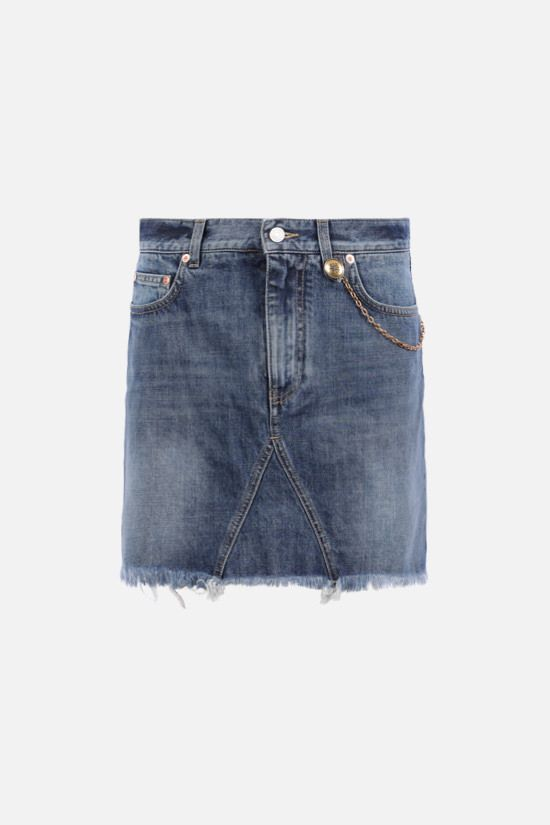 GIVENCHY: chain-detailed denim miniskirt Color Blue_1