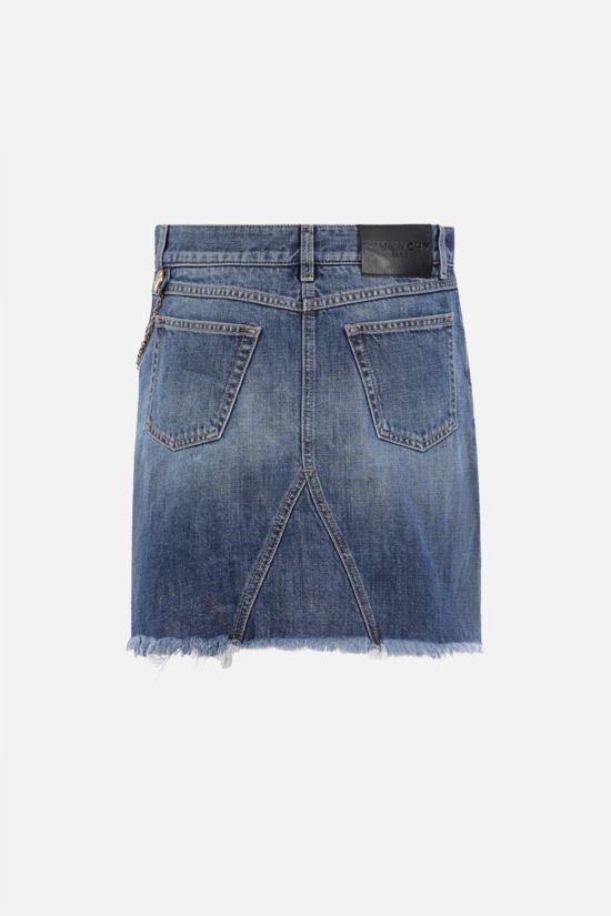 GIVENCHY: chain-detailed denim miniskirt Color Blue_2