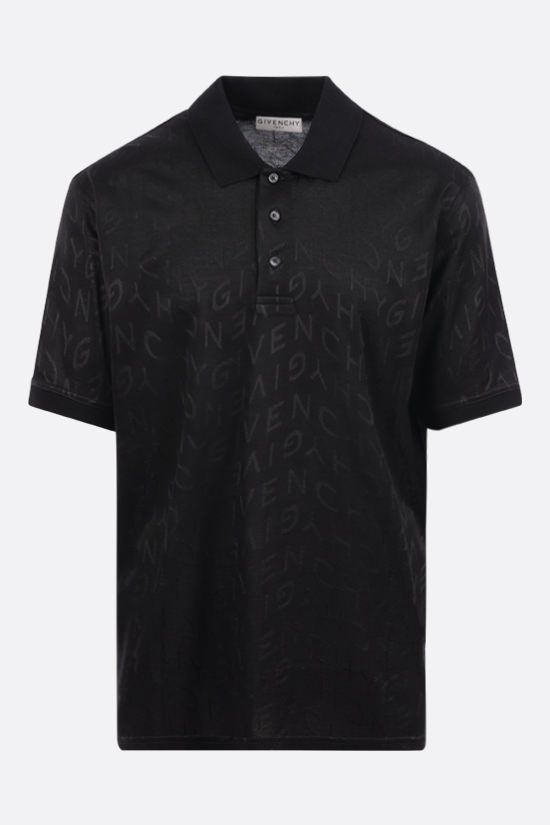 GIVENCHY: polo in piquè a motivo Givenchy Refracted Colore Nero_1